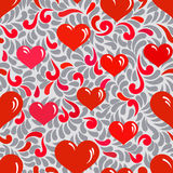 Seamless ornament with hearts and swirls Royalty Free Stock Image