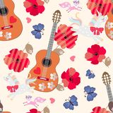 Seamless ornament for kids. Unicorns, little foxes, blue butterflies, wooden guitars, hearts and red poppy flowers on beige royalty free illustration
