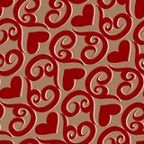 Seamless ornament love pattern. Seamless valentine  pattern with ornaments and hearts Royalty Free Stock Photos