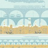 Seamless ornament with old winter town and bridges. Vector seamless ornament with an old winter town in retro style. Old buildings of European city with bridges Royalty Free Stock Photo
