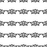 Seamless ornament, pattern. Black and white collection of seamless ornamental floral stripes Stock Images