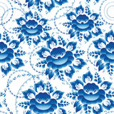 Seamless ornament pattern with blue flowers and leaves Vector Stock Image