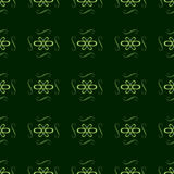 Seamless ornament pattern with green color on a dark green background. Vector Stock Photos