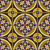 Seamless ornament pattern with violet flower. And olive background Royalty Free Stock Images