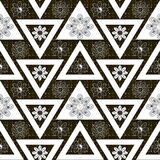 Seamless ornament. Stylish geometric seamless pattern with flowers repeating texture Royalty Free Stock Images