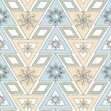 Seamless ornament. Stylish geometric seamless pattern with flowers repeating texture Stock Image