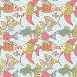 Seamless ornament variety of fish. In the water with air bubbles Stock Image