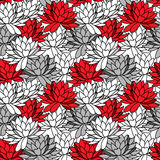 Seamless ornament with water lily. Stylish floral pattern in black, white and red colors Stock Image