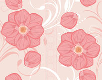 Seamless ornamental background with blooming pink  Royalty Free Stock Photography