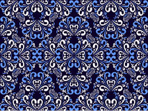 Seamless ornamental blue-white Pattern. Royalty Free Stock Photo