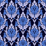 Seamless ornamental  floral Pattern in blue colors. Royalty Free Stock Photos