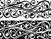 Floral ornament as tattoo strip. Seamless ornamental line with inverted variation on black Stock Photography