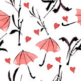Seamless ornamental pattern with bamboo and umbrella Stock Image