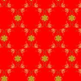 Seamless ornamental pattern with gold flowers and snowflakes. On bright red background royalty free illustration