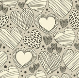 Seamless ornamental pattern with hearts. Endless hand drawn cute background. Ornate texture with many details Royalty Free Stock Photography