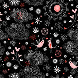 Seamless ornamental pattern with love birds in the Stock Photos