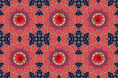Seamless ornamental pattern with raspberries in russian style Stock Photos