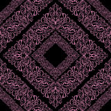 Seamless ornamental pink Pattern on black. Stock Photos