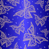 Seamless ornamental wallpaper with butterfly Stock Illustration