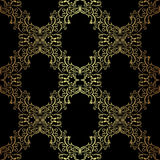 Seamless ornamental Wallpaper - gold on black. Stock Photography