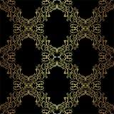 Seamless ornamental Wallpaper - gold on black. Stock Photography