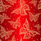 Seamless Ornamental Wallpaper With Butterfly Royalty Free Stock Photography