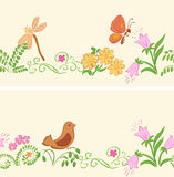Seamless vector ornaments with flora and fauna Royalty Free Stock Image