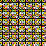 Seamless ornaments of pixel funny emoticons. Vector illustration Stock Photography