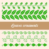 Seamless ornaments of the pixel green leaves. Set of seamless ornaments of the pixel green leaves Stock Photo