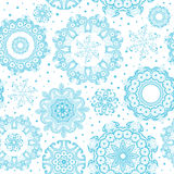 Seamless ornate blue snowflakes on white pattern. Background for Christmas and New year. Mandala lace snowflakes. Vector Illustration Stock Image