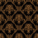 Seamless ornate damask flower Wallpaper for design. Royalty Free Stock Photo