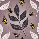 Seamless Ornate Floral Pattern with Beetles Stock Photos