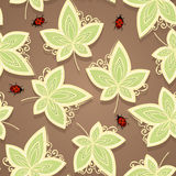 Seamless Ornate Floral Pattern with Beetles Royalty Free Stock Photos