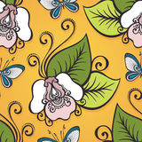 Seamless Ornate Floral Pattern with Butterflies Stock Photos