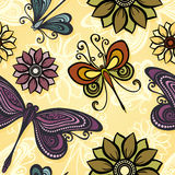 Seamless Ornate Floral Pattern with Butterflies Royalty Free Stock Image