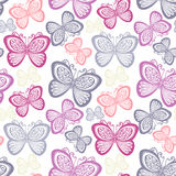 Seamless Ornate Floral Pattern with Butterflies Stock Images