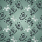 Seamless Ornate Floral Pattern with Butterflies Stock Image