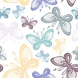 Seamless Ornate Floral Pattern with Butterflies Stock Photo