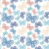 Seamless Ornate Floral Pattern with Butterflies Royalty Free Stock Images