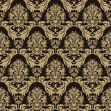 Seamless ornate floral Pattern on the chocolate Background Stock Photography