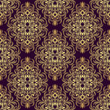 Seamless ornate golden Pattern on violet Stock Image