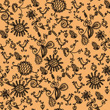 Seamless ornate orange  pattern Stock Photos