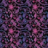 Seamless ornate oriental pattern with buta ornament and garden flowers. On black background. Print for fabric, blanket, wallpaper, carpet Stock Photography