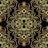 Seamless ornate Ornament for design: gold on black Royalty Free Stock Photo
