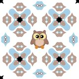Seamless ornate pattern with cute owl. In blue, black and brown colors on white background Royalty Free Stock Photos