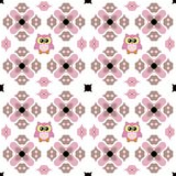 Seamless ornate pattern with cute owl in pink and brown Royalty Free Stock Image