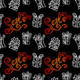 Seamless Ornate Pattern with Gifts (Vector) Royalty Free Stock Images