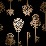 Seamless Ornate Pattern with Keys Royalty Free Stock Photos