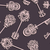 Seamless Ornate Pattern with Keys Stock Photos