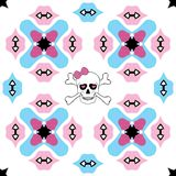 Seamless ornate pattern with skull design Royalty Free Stock Image